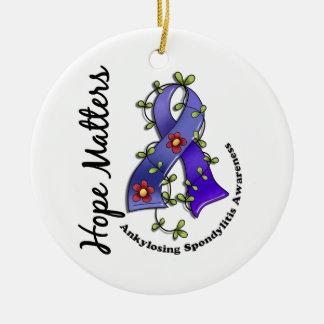 Flower Ribbon 4 Hope Matters Ankylosing Spondyliti Christmas Ornaments