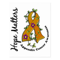 Flower Ribbon 4 Hope Matters Appendix Cancer Postcard