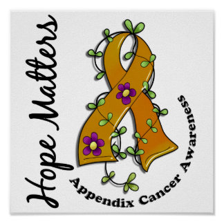 Flower Ribbon 4 Hope Matters Appendix Cancer Poster