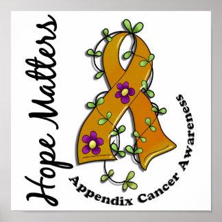 Flower Ribbon 4 Hope Matters Appendix Cancer Poster