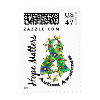 Flower Ribbon 4 Hope Matters Autism Postage
