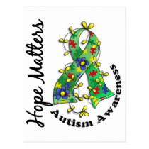 Flower Ribbon 4 Hope Matters Autism Postcard