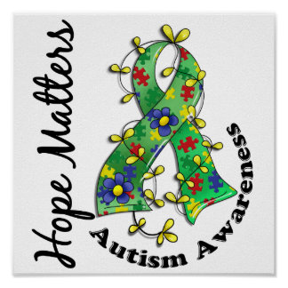 Flower Ribbon 4 Hope Matters Autism Poster