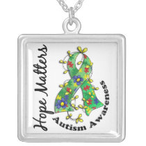 Flower Ribbon 4 Hope Matters Autism Silver Plated Necklace