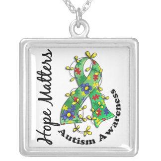 Flower Ribbon 4 Hope Matters Autism Square Pendant Necklace