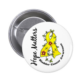 Flower Ribbon 4 Hope Matters Bladder Cancer Pinback Button