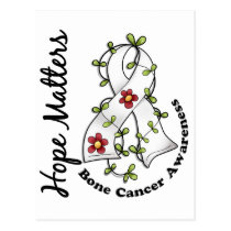 Flower Ribbon 4 Hope Matters Bone Cancer Postcard