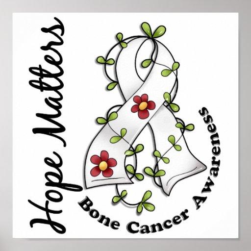 Flower Ribbon 4 Hope Matters Bone Cancer Poster