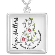 Flower Ribbon 4 Hope Matters Bone Cancer Silver Plated Necklace