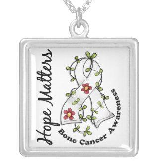 Flower Ribbon 4 Hope Matters Bone Cancer Square Pendant Necklace