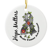 Flower Ribbon 4 Hope Matters Brain Tumor Ceramic Ornament