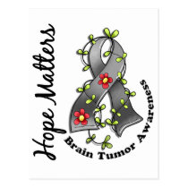 Flower Ribbon 4 Hope Matters Brain Tumor Postcard