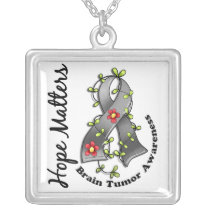 Flower Ribbon 4 Hope Matters Brain Tumor Silver Plated Necklace