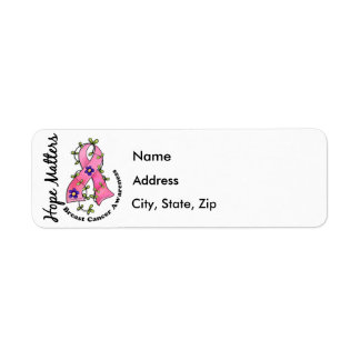 Flower Ribbon 4 Hope Matters Breast Cancer Label