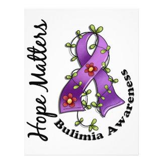 "Flower Ribbon 4 Hope Matters Bulimia 8.5"" X 11"" Flyer"