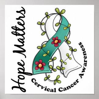 Flower Ribbon 4 Hope Matters Cervical Cancer Poster