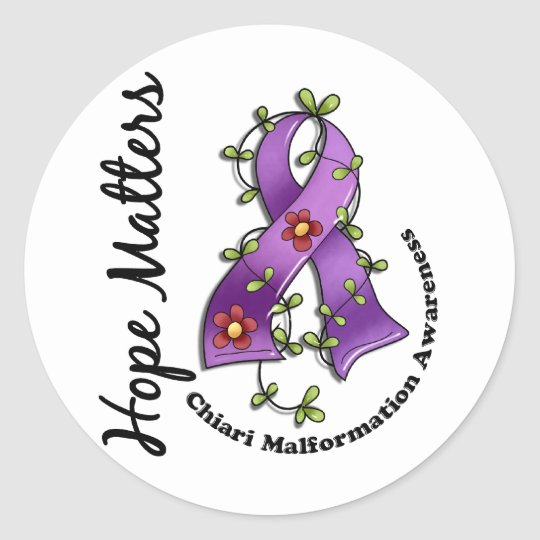 Flower Ribbon 4 Hope Matters Chiari Malformation Classic Round Sticker
