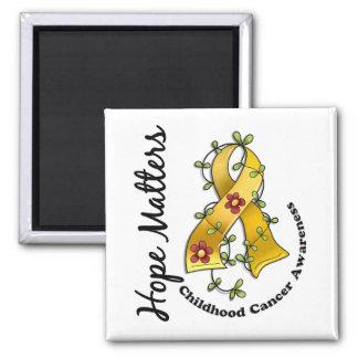 Flower Ribbon 4 Hope Matters Childhood Cancer 2 Inch Square Magnet