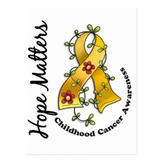 Flower Ribbon 4 Hope Matters Childhood Cancer Postcard