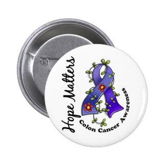 Flower Ribbon 4 Hope Matters Colon Cancer Pinback Button