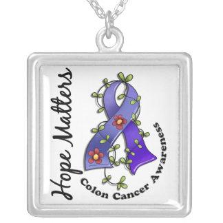 Flower Ribbon 4 Hope Matters Colon Cancer Square Pendant Necklace