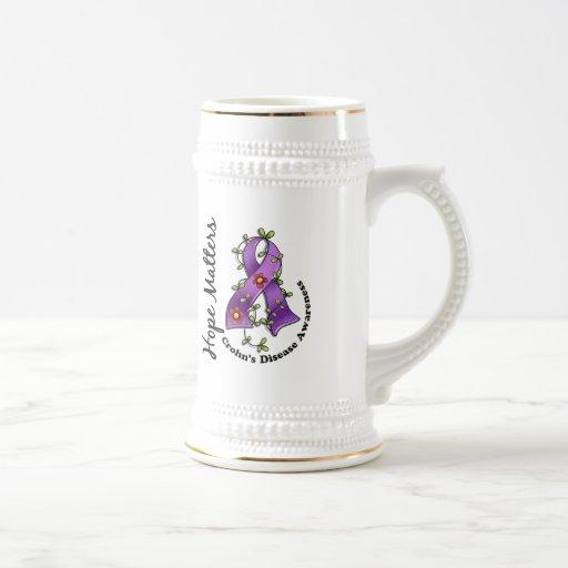 Flower Ribbon 4 Hope Matters Crohn's Disease Coffee Mug
