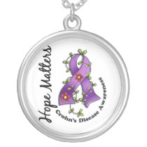 Flower Ribbon 4 Hope Matters Crohn's Disease Silver Plated Necklace