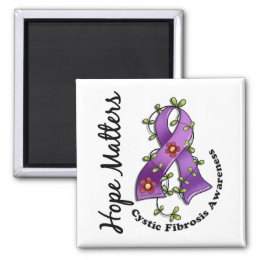 Flower Ribbon 4 Hope Matters Cystic Fibrosis Magnet