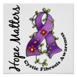 Flower Ribbon 4 Hope Matters Cystic Fibrosis Posters