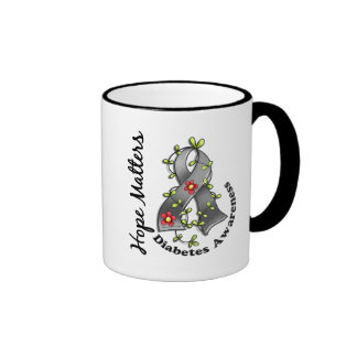 Flower Ribbon 4 Hope Matters Diabetes Ringer Coffee Mug