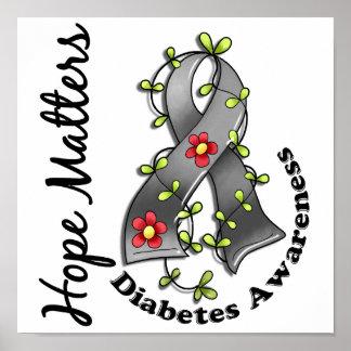 Flower Ribbon 4 Hope Matters Diabetes Poster