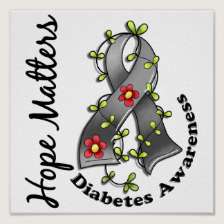 Flower Ribbon 4 Hope Matters Diabetes Poster