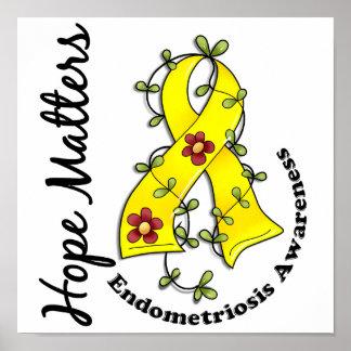 Flower Ribbon 4 Hope Matters Endometriosis Posters