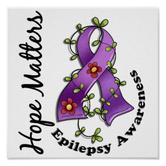 Flower Ribbon 4 Hope Matters Epilepsy Poster