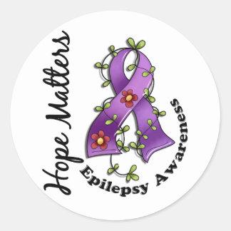 Flower Ribbon 4 Hope Matters Epilepsy Classic Round Sticker