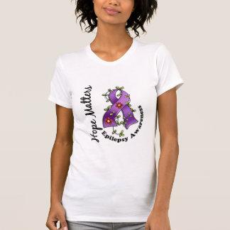 Flower Ribbon 4 Hope Matters Epilepsy T-Shirt