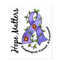 Flower Ribbon 4 Hope Matters Esophageal Cancer Postcard