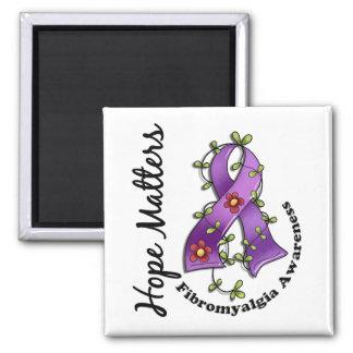 Flower Ribbon 4 Hope Matters Fibromyalgia 2 Inch Square Magnet