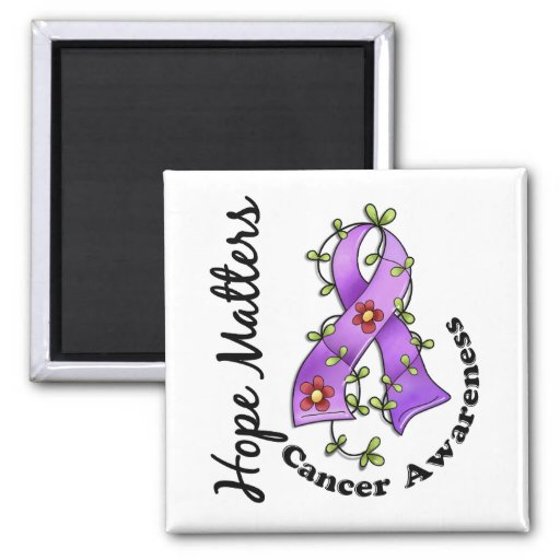 Flower Ribbon 4 Hope Matters General Cancer Fridge Magnets