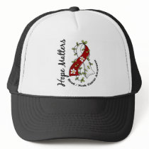 Flower Ribbon 4 Hope Matters Head Neck Cancer Trucker Hat