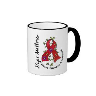 Flower Ribbon 4 Hope Matters Heart Disease Ringer Coffee Mug