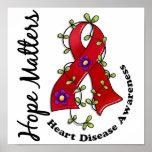 Flower Ribbon 4 Hope Matters Heart Disease Poster
