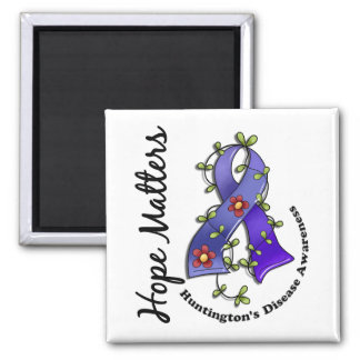 Flower Ribbon 4 Hope Matters Huntington's Disease 2 Inch Square Magnet