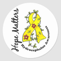 Flower Ribbon 4 Hope Matters Hydrocephalus Classic Round Sticker