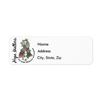 Flower Ribbon 4 Hope Matters Juvenile Diabetes Return Address Label