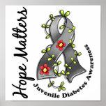 Flower Ribbon 4 Hope Matters Juvenile Diabetes Print