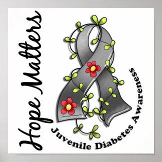 Flower Ribbon 4 Hope Matters Juvenile Diabetes Poster