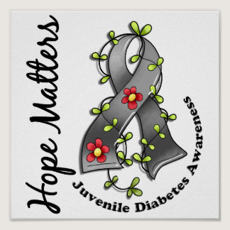 Flower Ribbon 4 Hope Matters Juvenile Diabetes Poster