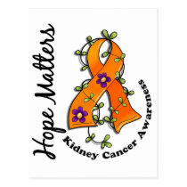 Flower Ribbon 4 Hope Matters Kidney Cancer Postcard