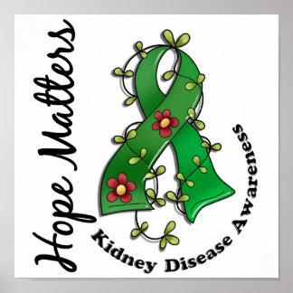 Flower Ribbon 4 Hope Matters Kidney Disease Print